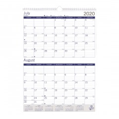 DuraGlobe Two-Month Wall Calendar 2020-2021 - English