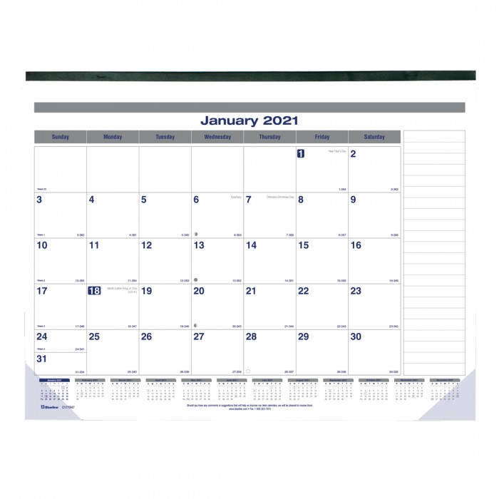 Net Zero Carbon Monthly Desk Pad 2021, English
