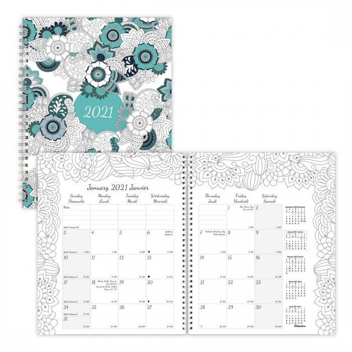 DoodlePlan™ Monthly Colouring Planner 2021, Botanica