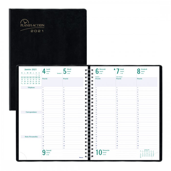 Timanager® Weekly Planner 2021, (French version) Black