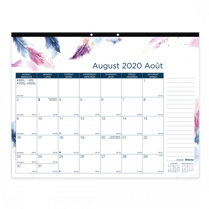 Academic Monthly Desk pad Boho 2020-2021