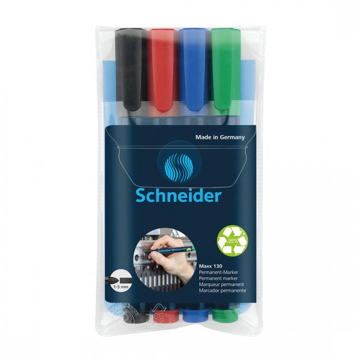 Maxx 130 Permanent Markers, Wallet 4 pieces - Assorted
