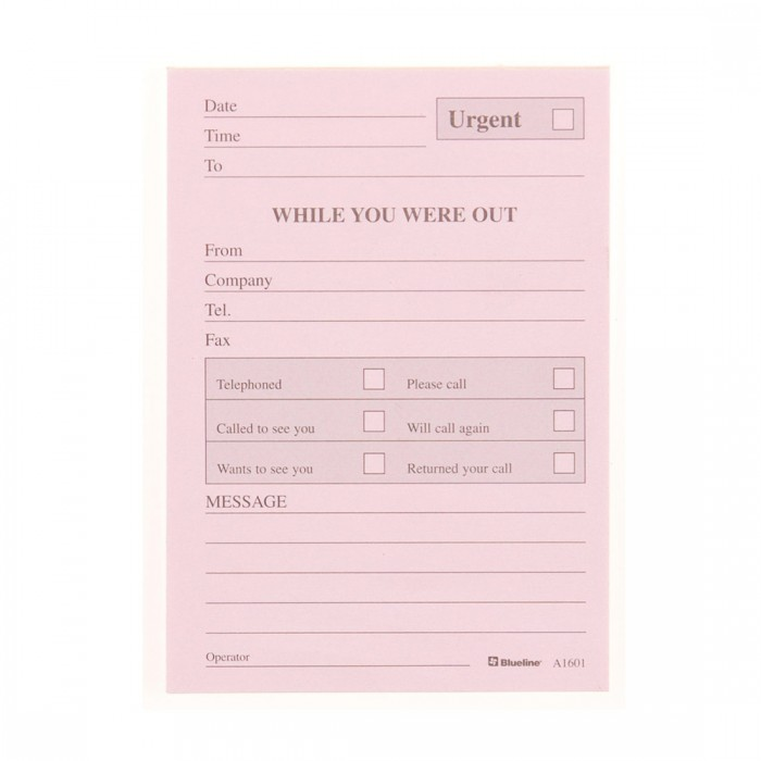 Telephone Message Pad - English