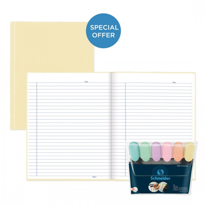Vanilla Pastel Notebook with Schneider Job Pastel 6 Highlighter Wallet
