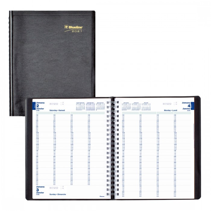 Daily Appointment Book for 4 Persons 2021, Black