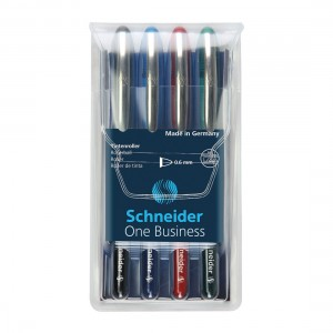 One Business Rollerball Pens 0.6mm, Wallet 4 pieces - Assorted