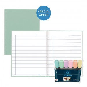 Sage Pastel Notebook with Schneider Job Pastel 6 Highlighter Wallet