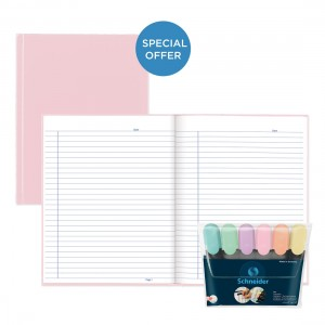 Rose Pastel Notebook with Schneider Job Pastel 6 Highlighter Wallet