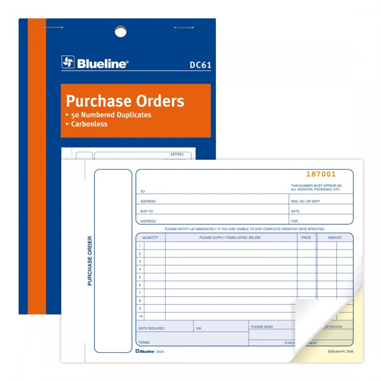 Purchase Orders Book - Blueline on receipt form, bill of sale form, distribution form, petty cash form, contact us form, request for proposal form, requisition form, bill of lading form, purchase history, expenses form, remittance advice form, credit note form, journal voucher form, military orders form, purchase requisition, purchase tracking, invoice form,